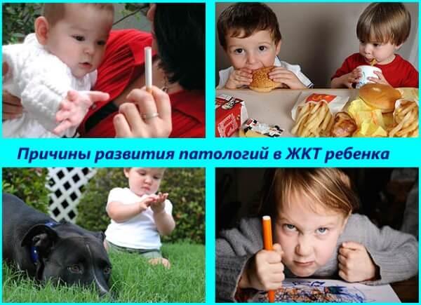 Причины развития патологий ЖКТ у детей